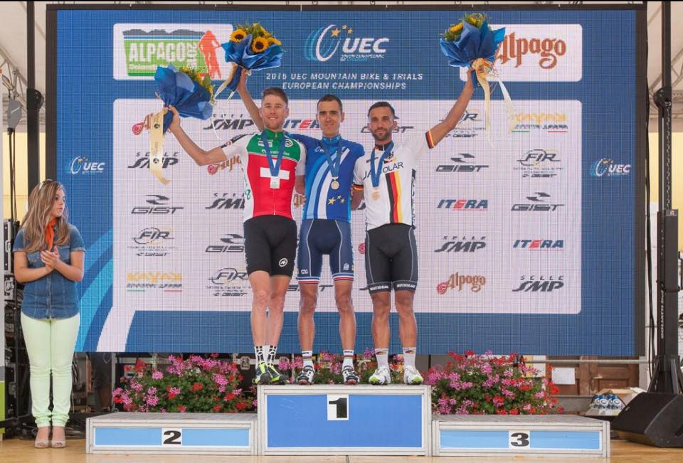Il podio dell'Europeo 2015 XCO ha visto sul gradino più alto del podio Julien Absalon.