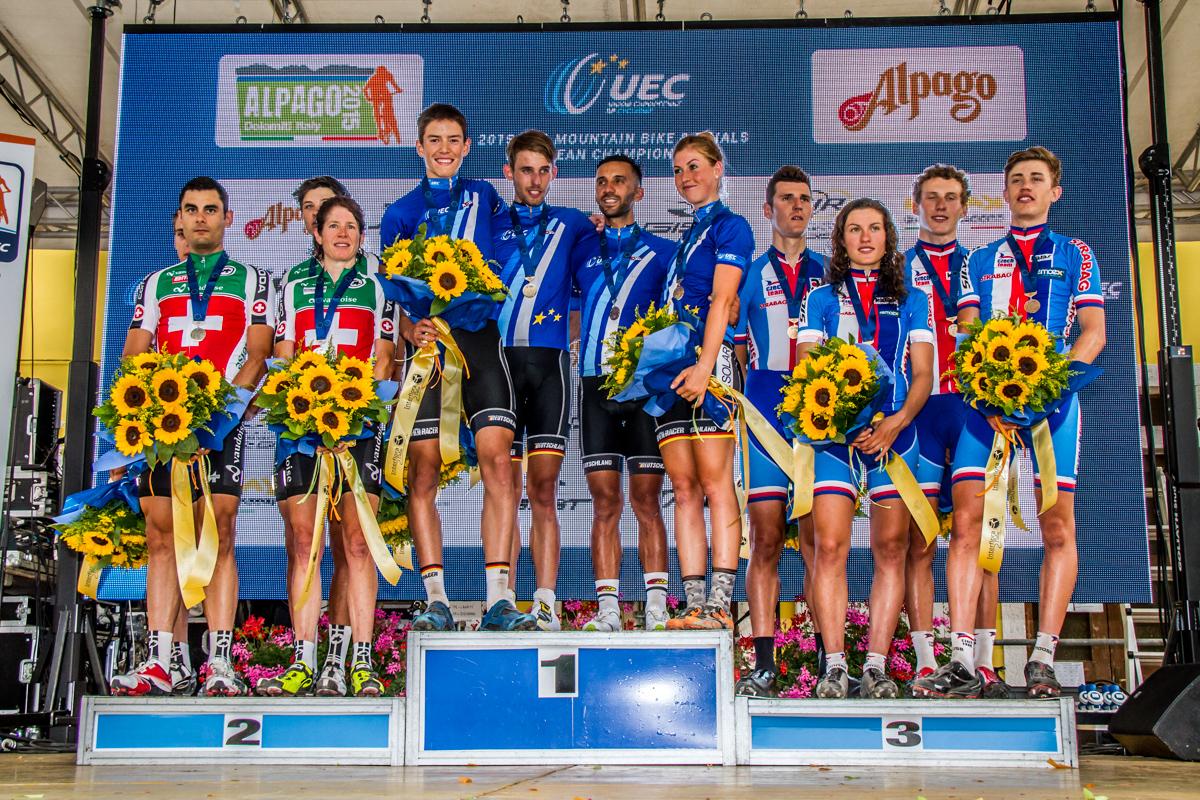 Il podio europeo 2015 della prova Team Relay