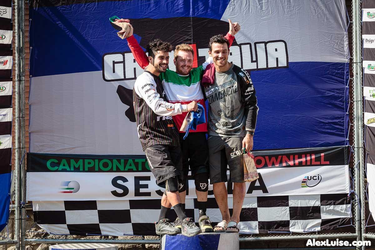 Il podio del campionato italiano DH 2015 a Sestola vede Alan Beggin vestire nuovamente il tricolore.