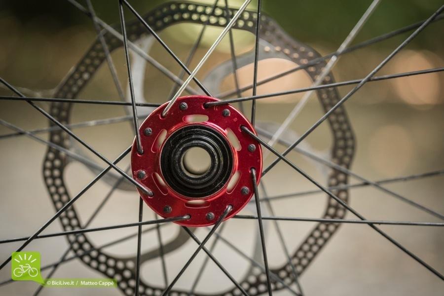 Raggi in acciaio a testa curva e mozzi anodizzati rossi con lavorazioni per alleggerirli.