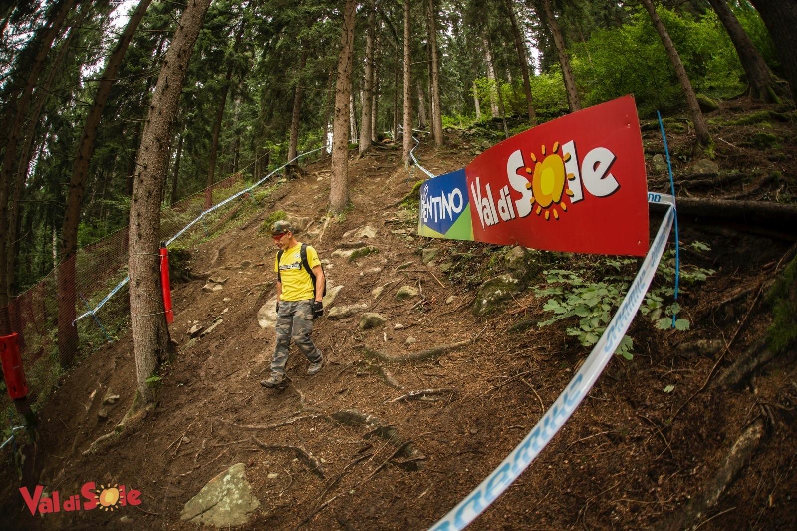Pippo Marani sulla Black Snacke della pista in Val di Sole della World Cup Mtb UCI 2015