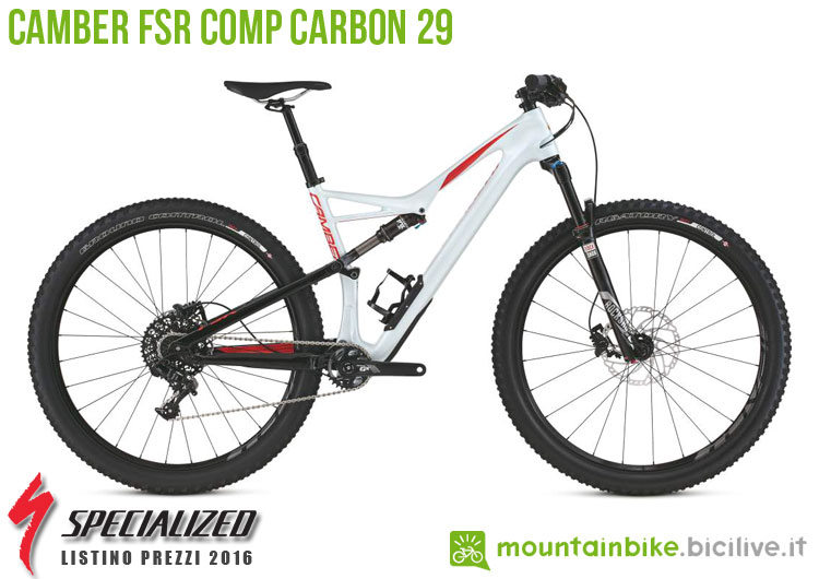 Una foto della bicicletta Camber FSR Comp Carbon 29 sul listino prezzi ufficiale mtb Specialized 2016