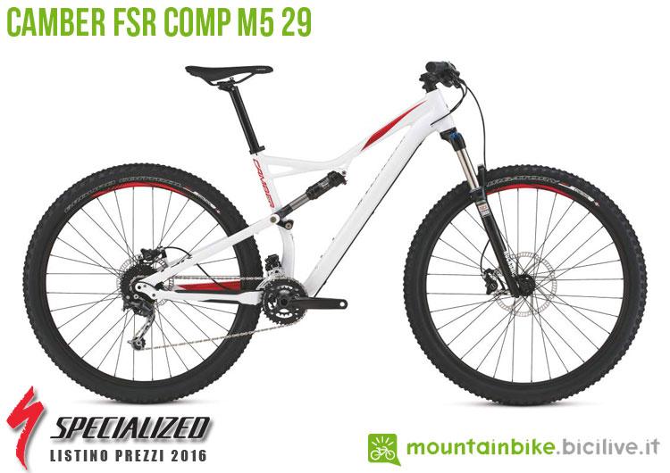 Una foto della bicicletta Camber FSR Comp M5 29 sul listino prezzi ufficiale mtb Specialized 2016