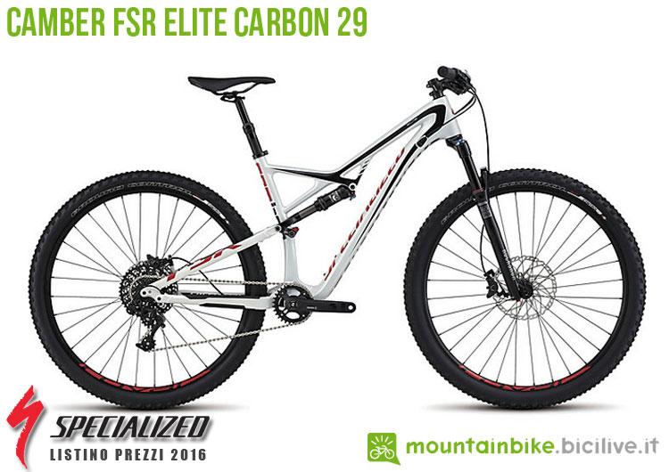 Una foto della bicicletta Camber FSR Elite Carbon 29 sul listino prezzi ufficiale mtb Specialized 2016