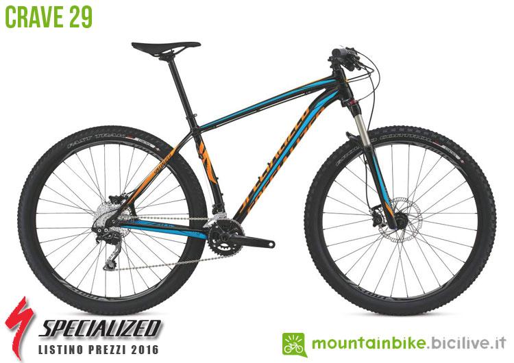 Una foto della bicicletta Crave 29 sul listino prezzi ufficiale mtb Specialized 2016