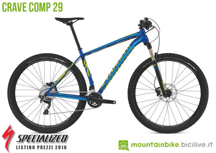 Una foto della bicicletta Crave Comp 29 sul listino prezzi ufficiale mtb Specialized 2016