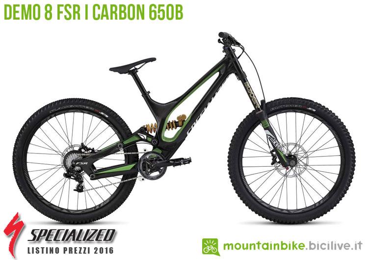 Una foto della bicicletta da uomo Demo 8 FSR I Carbon 650b sul listino prezzi ufficiale mtb Specialized 2016