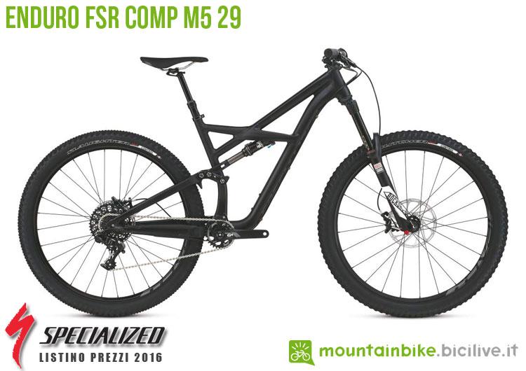 Una foto della bicicletta da uomo Enduro FSR Comp M5 29 sul listino prezzi ufficiale mtb Specialized 2016