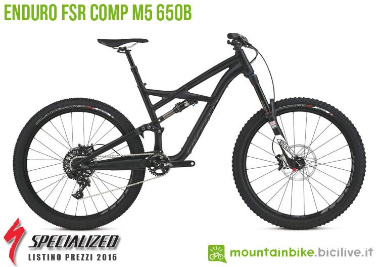 Una foto della bicicletta da uomo Enduro FSR Comp M5 650b sul listino prezzi ufficiale mtb Specialized 2016