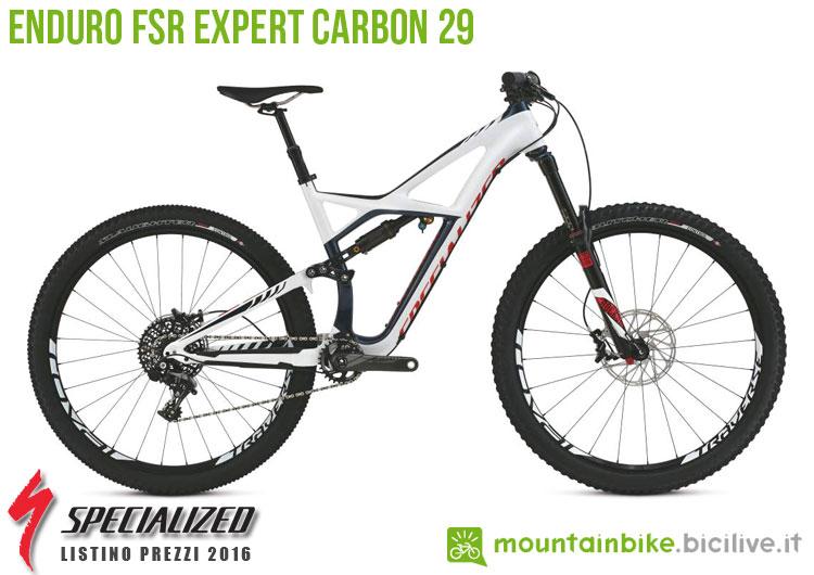 Una foto della bicicletta da uomo Enduro FSR Expert Carbon 29 sul listino prezzi ufficiale mtb Specialized 2016