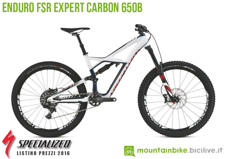 Una foto della bicicletta da uomo Enduro FSR Expert Carbon 650b sul listino prezzi ufficiale mtb Specialized 2016