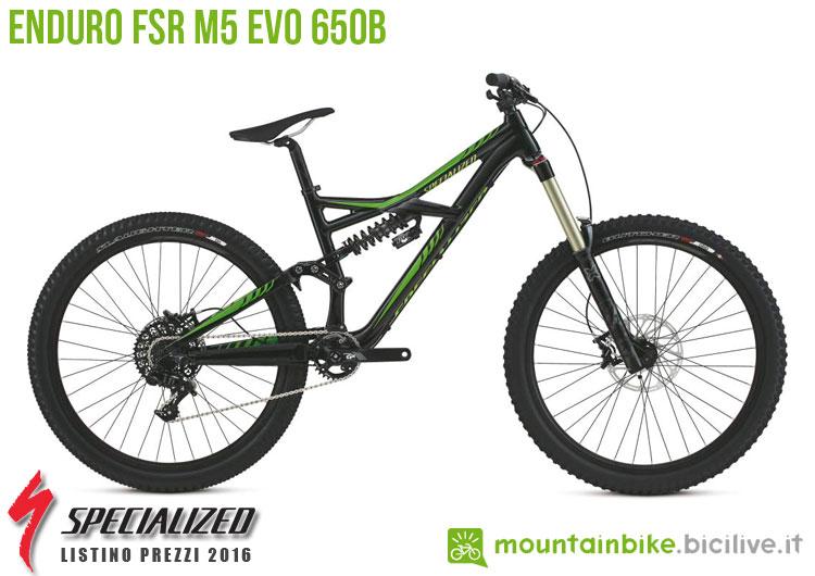 Una foto della bicicletta da uomo Enduro FSR M5 EVO 650b sul listino prezzi ufficiale mtb Specialized 2016