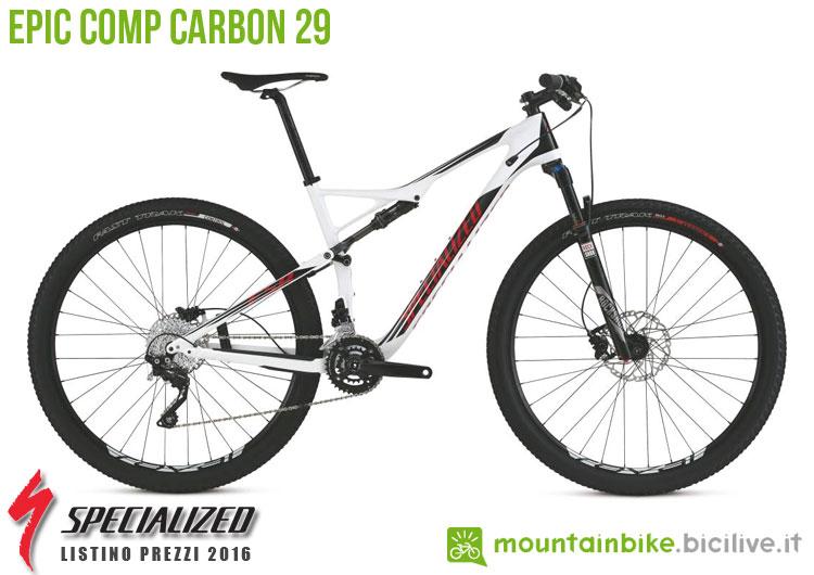 Una foto della bicicletta Epic Comp Carbon sul listino prezzi ufficiale mtb Specialized 2016
