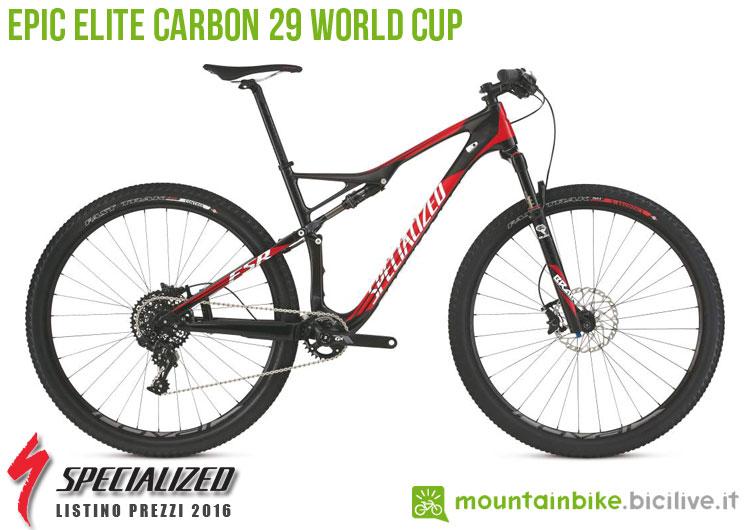 Una foto della bicicletta Epic Elite Carbon 29 World Cup sul listino prezzi ufficiale mtb Specialized 2016