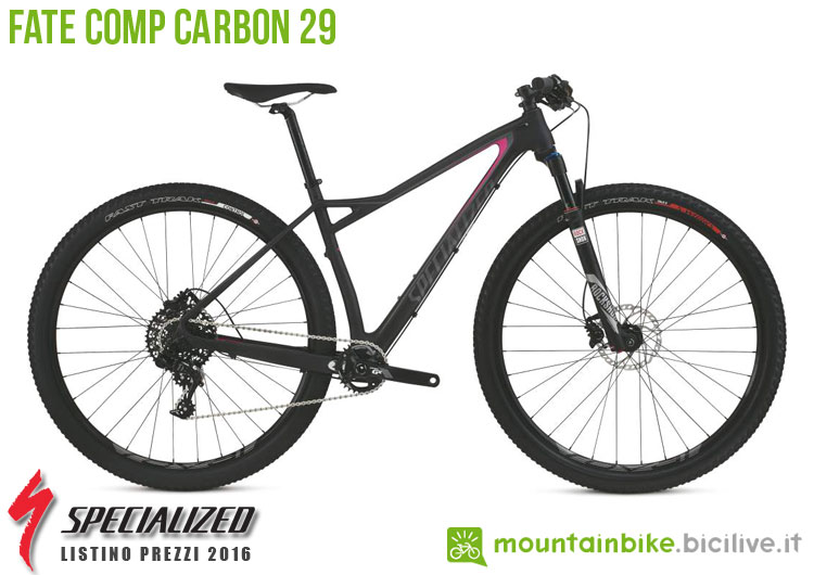 Una foto della bici da donna Fate Comp Carbon 29 sul listino prezzi ufficiale mtb Specialized 2016