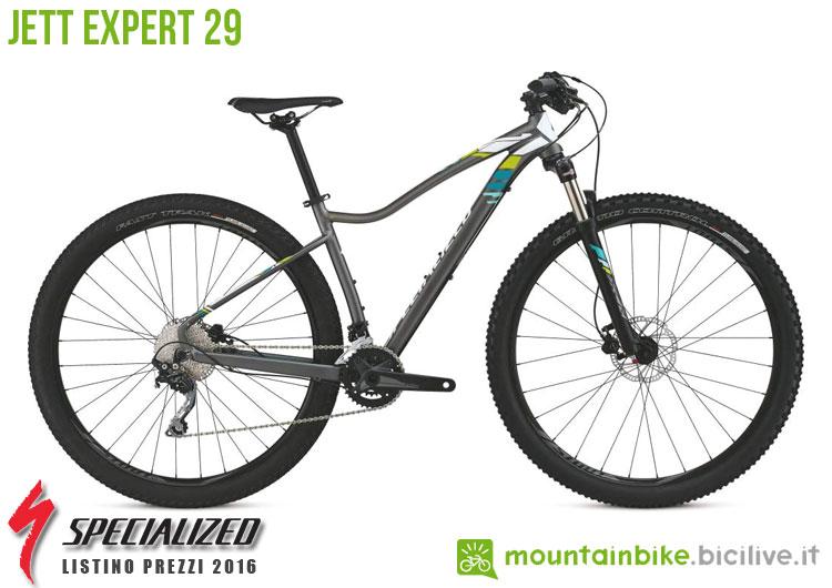 Una foto della bicicletta da donna Jett Expert 29 sul listino prezzi ufficiale mtb Specialized 2016