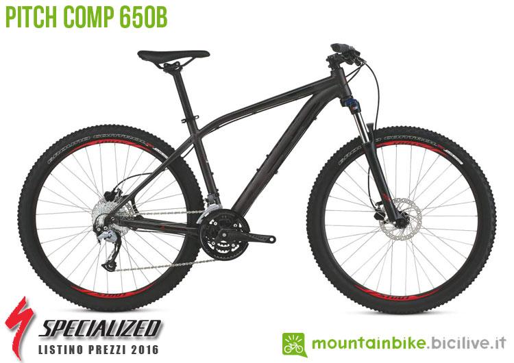Una foto della bicicletta da uomo Pitch Comp 650b sul listino prezzi ufficiale mtb Specialized 2016