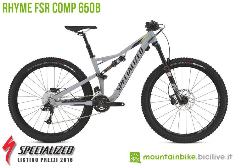 Una foto della bicicletta da donna Rhyme FSR Comp 650b sul listino prezzi ufficiale mtb Specialized 2016
