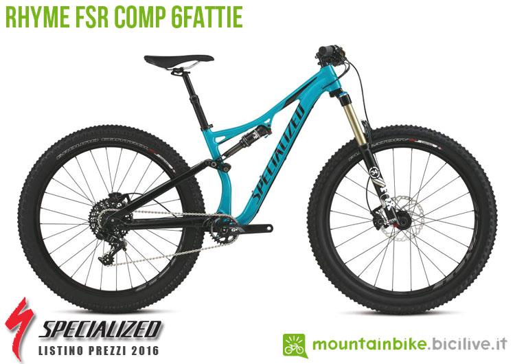 Una foto della bicicletta da donna Rhyme FSR Comp 6Fattie sul listino prezzi ufficiale mtb Specialized 2016