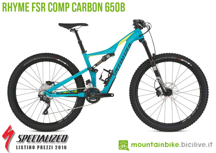 Una foto della bici da donna Rhyme FSR Comp Carbon 650b sul listino prezzi ufficiale mtb Specialized 2016