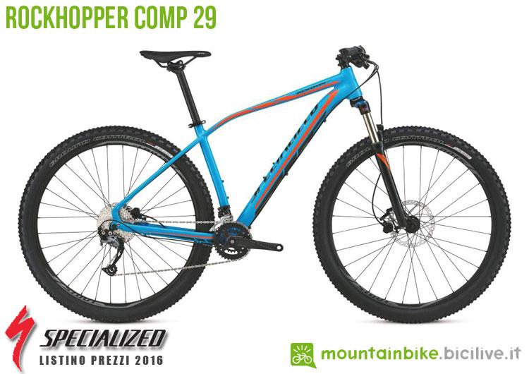 Una foto della bicicletta da uomo Rockhopper Comp 29 sul listino prezzi ufficiale mtb Specialized 2016