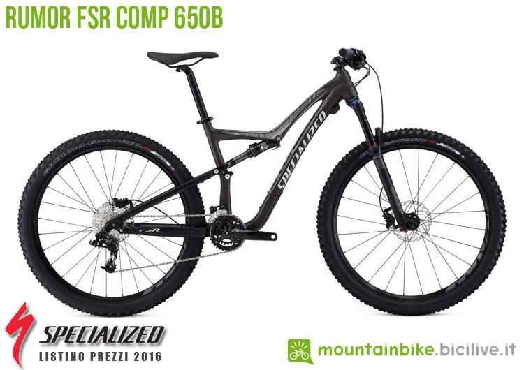 Una foto della bicicletta da donna Rumor FSR Comp 650b sul listino prezzi ufficiale mtb Specialized 2016