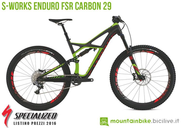 Una foto della bicicletta da uomo S-Works Enduro FSR Carbon 29 sul listino prezzi ufficiale mtb Specialized 2016