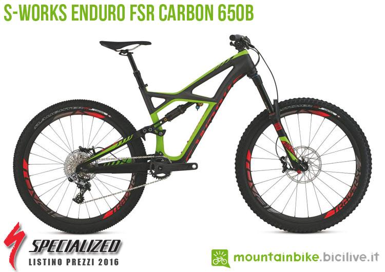 Una foto della bicicletta da uomo S-Works Enduro FSR Carbon 650b sul listino prezzi ufficiale mtb Specialized 2016