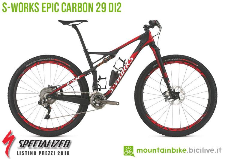 Una foto della S-Works Epic Carbon 29 Di2 sul listino prezzi ufficiale mtb Specialized 2016