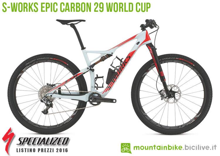 Una foto della S-Works Epic Carbon 29 World Cup sul listino prezzi ufficiale mtb Specialized 2016