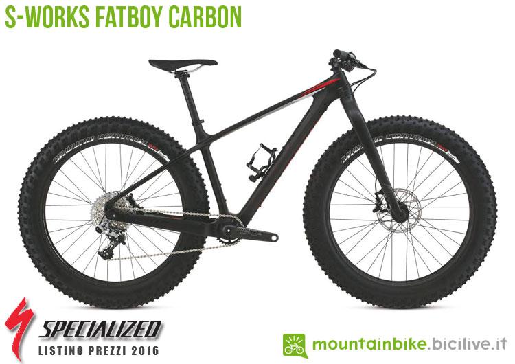 Una foto della bicicletta da uomo S-Works FatBoy Carbon sul listino prezzi ufficiale mtb Specialized 2016