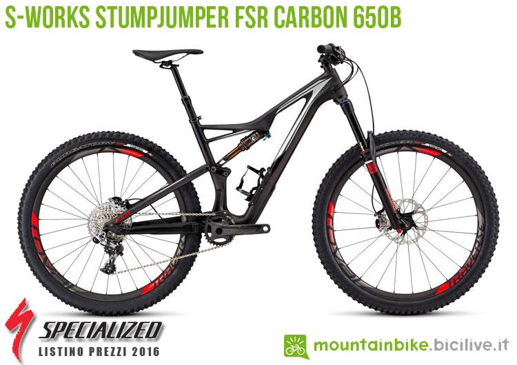 Una foto della bici S-Works Stumpjumper FSR Carbon 650b sul listino prezzi ufficiale mtb Specialized 2016
