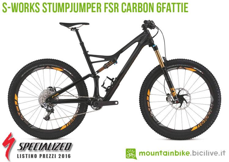 Una foto della bici S-Works Stumpjumper FSR Carbon 6Fattie sul listino prezzi ufficiale mtb Specialized 2016