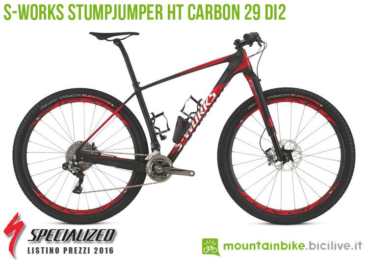 Una foto della bicicletta S-Works Stumpjumper HT Carbon 29 Di2 sul listino prezzi ufficiale mtb Specialized 2016