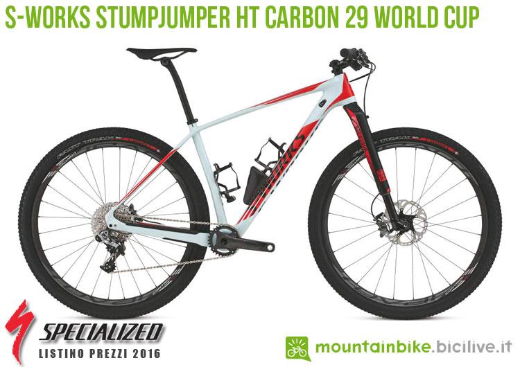 Una foto della bicicletta S-Works Stumpjumper HT Carbon 29 World Cup sul listino prezzi ufficiale mtb Specialized 2016
