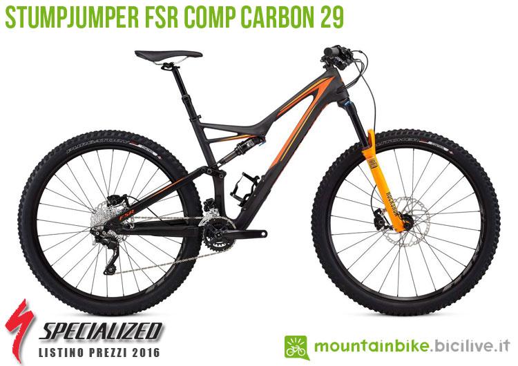 Una foto della bici Stumpjumper FSR Comp Carbon 29 sul listino prezzi ufficiale mtb Specialized 2016