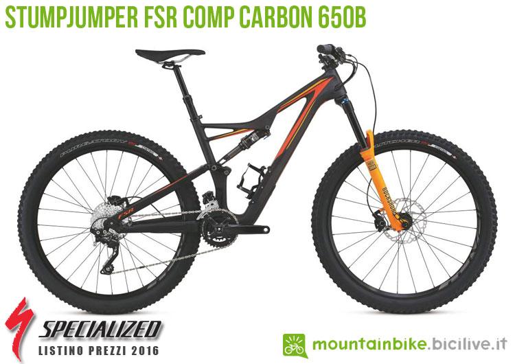 Una foto della bici Stumpjumper FSR Comp Carbon 650b sul listino prezzi ufficiale mtb Specialized 2016