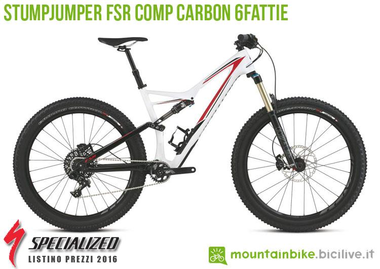 Una foto della bici Stumpjumper FSR Comp Carbon 6Fattie sul listino prezzi ufficiale mtb Specialized 2016