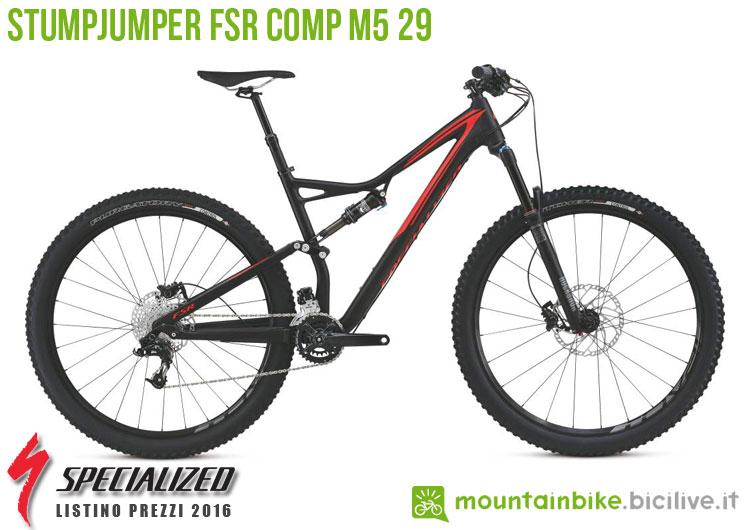 Una foto della bici Stumpjumper FSR Comp M5 29 sul listino prezzi ufficiale mtb Specialized 2016