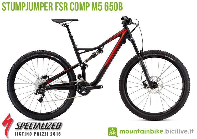 Una foto della bici Stumpjumper FSR Comp M5 650b sul listino prezzi ufficiale mtb Specialized 2016