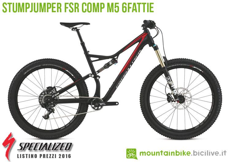 Una foto della bici Stumpjumper FSR Comp M5 6Fattie sul listino prezzi ufficiale mtb Specialized 2016