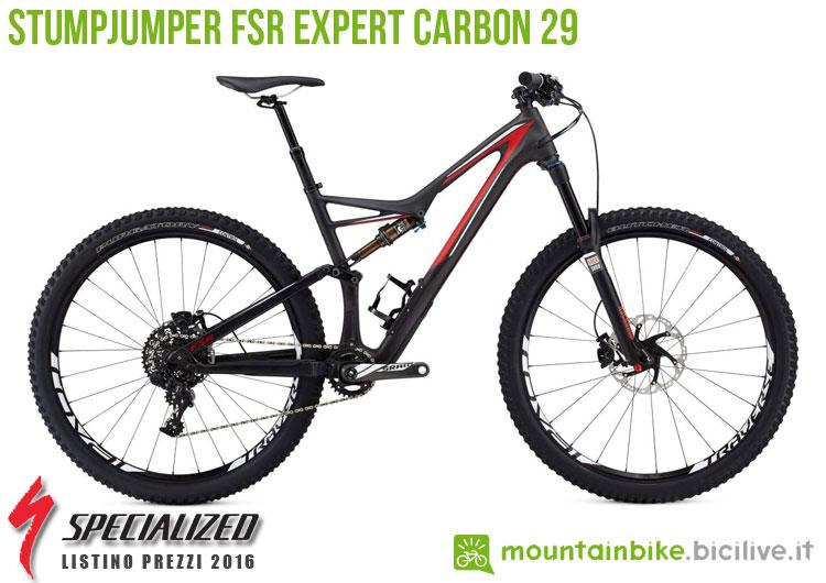 Una foto della bici Stumpjumper FSR Expert Carbon 29 sul listino prezzi ufficiale mtb Specialized 2016