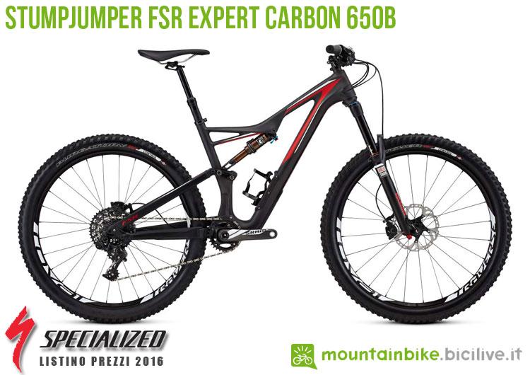 Una foto della bici Stumpjumper FSR Expert Carbon 650b sul listino prezzi ufficiale mtb Specialized 2016