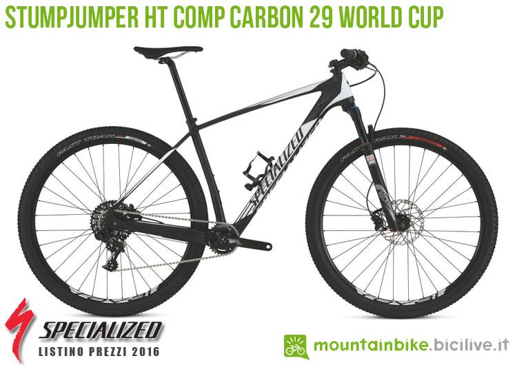 Una foto della bicicletta Stumpjumper HT Comp Carbon 29 World Cup sul listino prezzi ufficiale mtb Specialized 2016