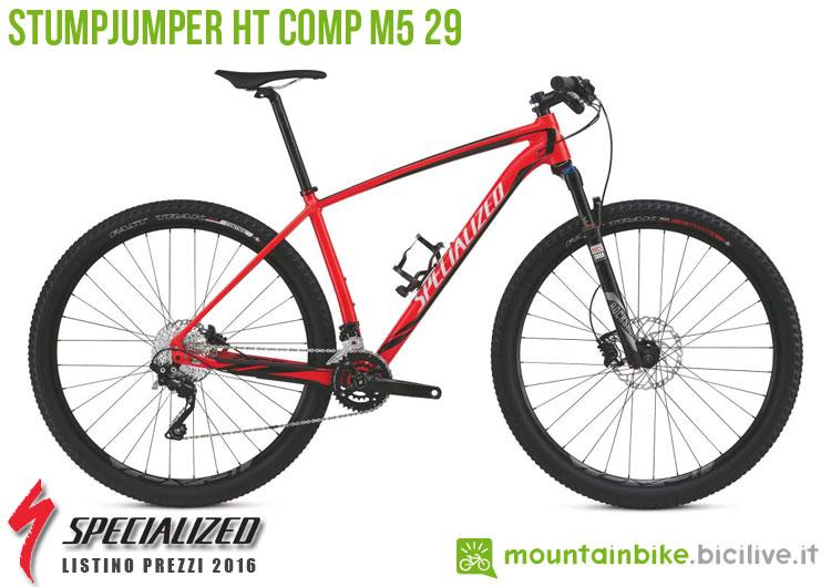 Una foto della bicicletta Stumpjumper HT Comp M5 29 sul listino prezzi ufficiale mtb Specialized 2016