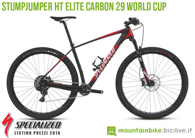Una foto della bicicletta Stumpjumper HT Elite Carbon 29 World Cup sul listino prezzi ufficiale mtb Specialized 2016