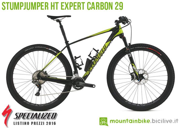 Una foto della bicicletta Stumpjumper HT Expert Carbon 29 sul listino prezzi ufficiale mtb Specialized 2016