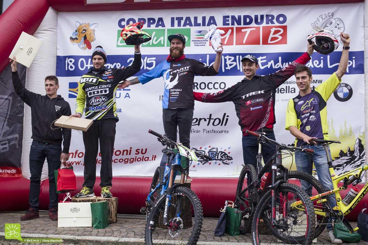 Il podio dell'ultima tappa della Coppa Italia Enduro 2015