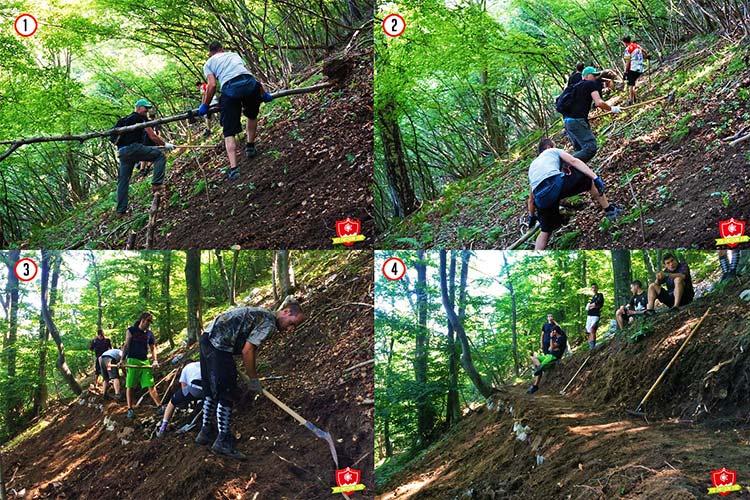 foto delle quattro fasi per la realizzazione di un sentiero sostenibile per mountain bike