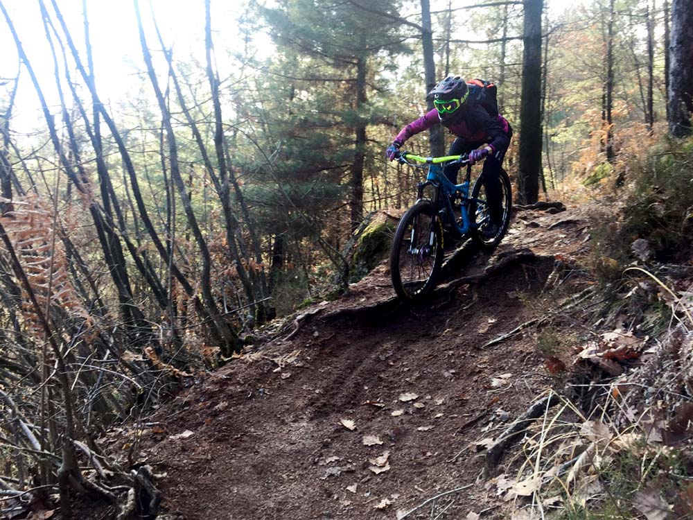 foro di una BikHer in mountain bike che affronta una discesa sterrata